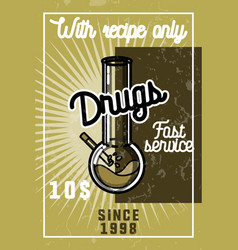 Color vintage drugs banner vector