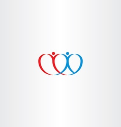 couple love heart boy and girl logo vector image