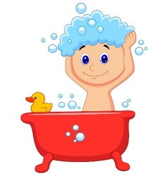 Cute cartoon boy having bath vector
