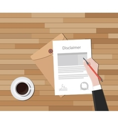 disclaimer document hand sign a paper with stamp vector image vector image