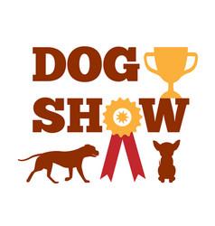 Dog show award with ribbon canine animal design vector
