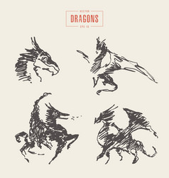 dragons logo hand drawn sketch vector image vector image
