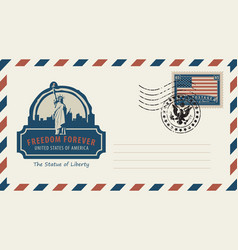 envelope with statue of liberty and american flag vector image vector image
