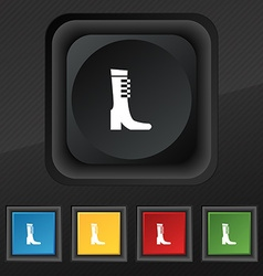 Female fall and winter shoe boot icon symbol set vector