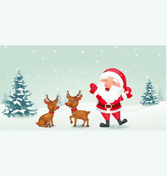 happy santa with reindeer vector image