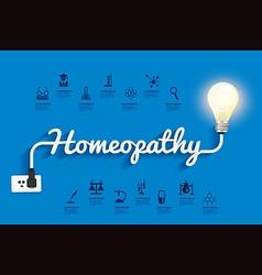 Homeopathy ideas concept creative light bulb vector image vector image