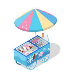 ice cream cart store isometric icon vector image