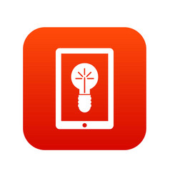 Idea lamp on gadget screen icon digital red vector