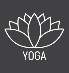 lotus line icon fitness and sport yoga sign vector image
