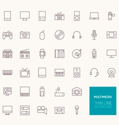 Multimedia outline icons for web and mobile apps vector