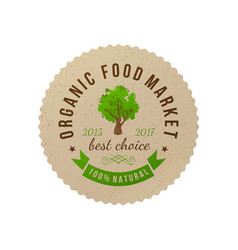 organic food market round paper emblem vector image vector image