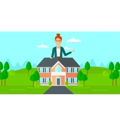 Real estate agent showing thumb up vector