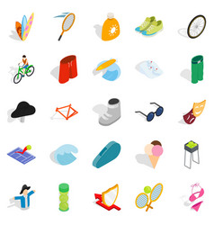 Recreation park icons set isometric style vector