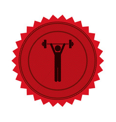 Red circular seal with man weightlifting vector