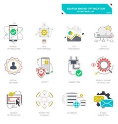 Seo internet marketing icons modern flat design vector image vector image