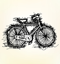 sketch drawing of bicycle vector image