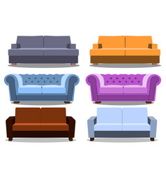 sofa and couches colorful realistic set vector image vector image