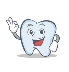 Tooth character cartoon style with okay vector