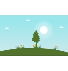 Tree with flower at spring landscape vector