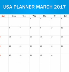 Usa planner blank for march 2017 scheduler agenda vector