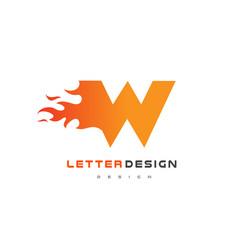w letter flame logo design fire logo lettering vector image vector image