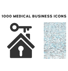 Home key icon with 1000 medical business vector