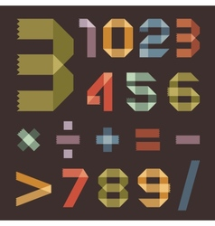 Font from colored scotch tape - arabic numerals vector
