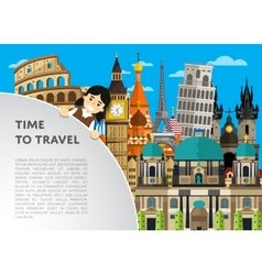 Time to travel template with famous attractions vector
