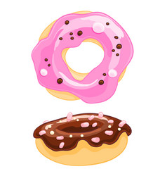 Two sweet cartoon icons donut with sprinkles vector