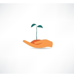 Hand and plant design element vector