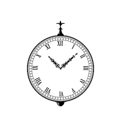 Vintage clock with vignette arrows vector