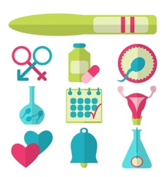 Flat design set of fertility icons vector