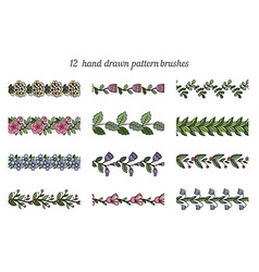 Set of twelve hand drawn pattern floral brushes vector