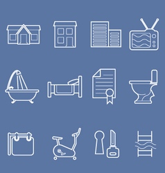 Real estate and accommodation amenities icons vector