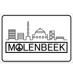 Molenbeek text with buildings outline vector