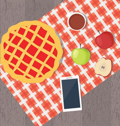 Apple pie and smart phone vector