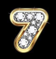 7 number gold and diamond bling vector
