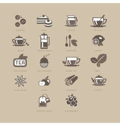 Tea and spices flat icon set vector