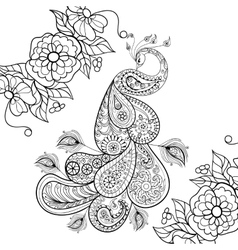 Zentangle peacock totem in flowersfor adult anti vector