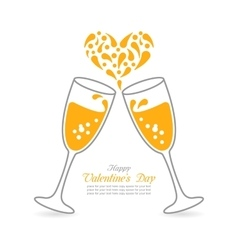 Wineglasses of sparkling champagne happy vector