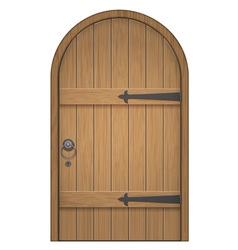 Old wooden arch door vector