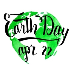 Earth day calligraphy on watercolor background vector