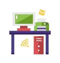 Work place flat design single icon vector