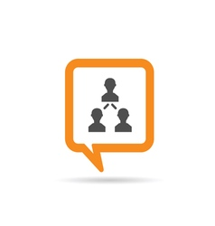 Square orange speech bubble with people three vector