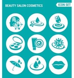 Set of round icons white beauty salon cosmetics vector