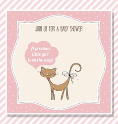 Baby girl shower card with little cat vector