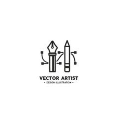Artist logo template pencil and pen tool vector