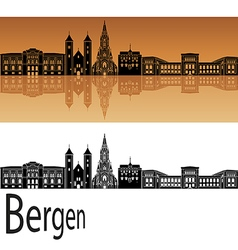 Bergen skyline in orange vector image