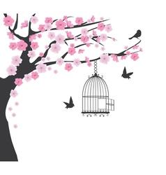 bird cage cherry vector image vector image