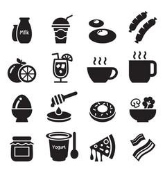 Breakfast icons set1 vector